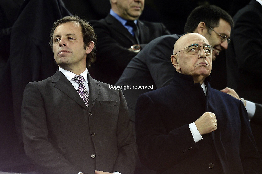 12.03.2013. Nou Camp, Barcelona, Spain. Champions League Barcelona FC versus AC Milan.  Photo shows Adriano Galliani and Sandro Rosell