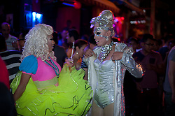 Drag queens chatting on the streets of Bali/Seminyak