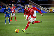 Charlton forward Karlan Ahearne-Grant (18) misses this penalty during the EFL Sky Bet League 1 match between Peterborough United and Charlton Athletic at London Road, Peterborough, England on 26 January 2019.