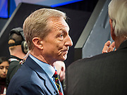 14 JANUARY 2020 - DES MOINES, IOWA: California businessman TOM STEYER talks to MSNBC anchor CHRIS MATTHEWS at the CNN Democratic Presidential Debate on the campus of Drake University in Des Moines. This is the last debate before the Iowa Caucuses on Feb. 3.    PHOTO BY JACK KURTZ
