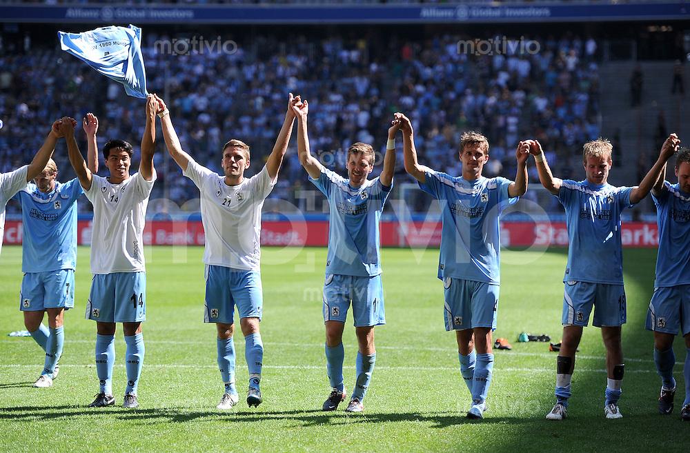 2. Fussball Bundesliga:  Saison   2011/2012,    2.  Spieltag  TSV 1860 Muenchen - FC Erzgebirge Aue  14.08.2011 Bobby Wood, Sandro Kaiser, Benjamin Lauth, Kai Buelow, Stefan Aigner  (v. li., 1860 Muenchen)