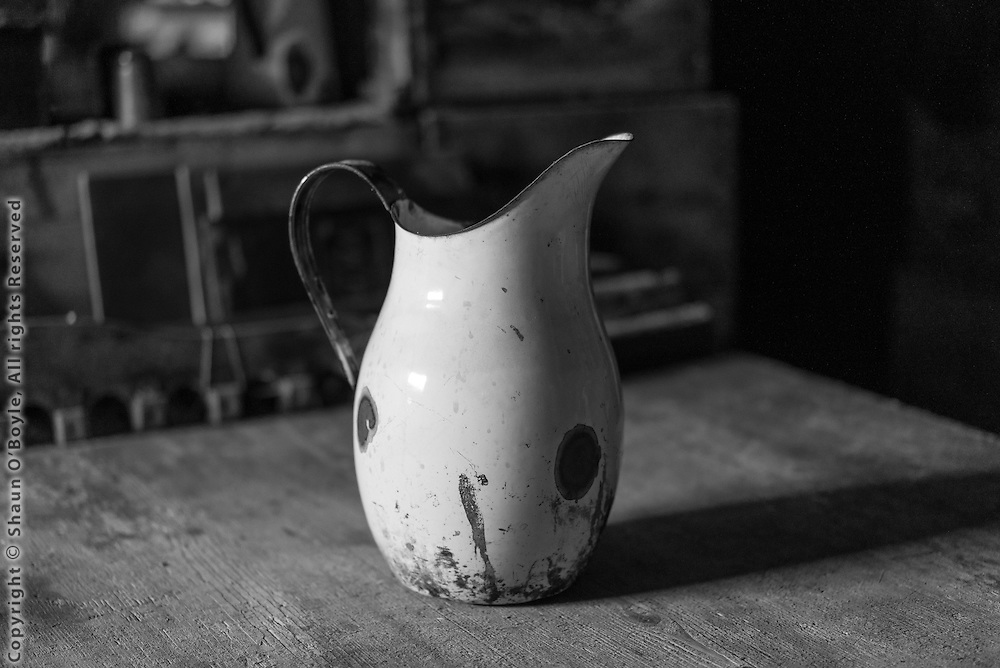 Pitcher on table in Cape Evans Hut.