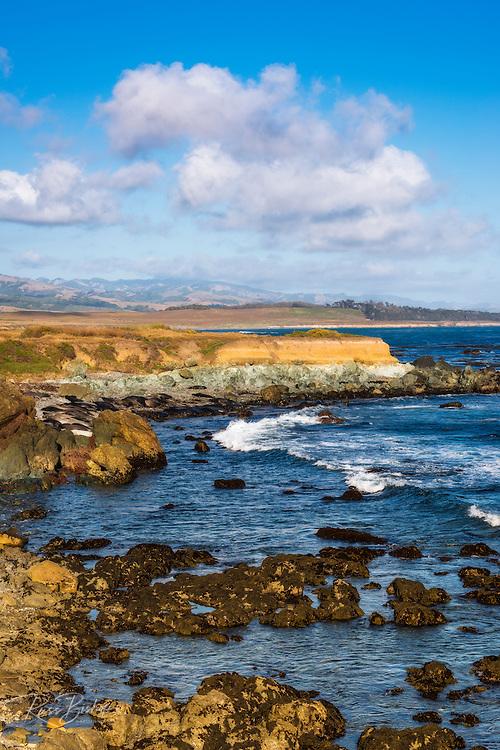 Rocky coastline at Piedras Blancas elephant seal rookery, San Simeon, California USA