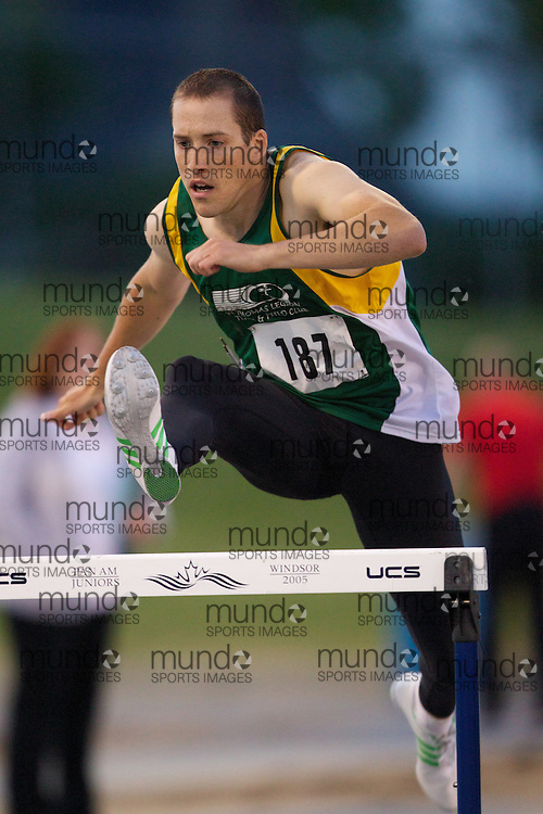 Jared Coyne of St Thomas Legion TFC competes at the Windsor Twilight meet, May 26, 2012.
