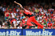 17th February 2019, Marvel Stadium, Melbourne, Australia; Australian Big Bash Cricket League Final, Melbourne Renegades versus Melbourne Stars; Harry Gurney of the Melbourne Renegades bowling