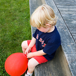 A young boy at the Quechee Balloon Festival Quechee Vermont USA