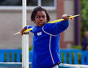 Hampton University sophomore Shaquandra Gainey stretches prior to the start of the Javelin Throw in the Women's Heptathlon at the 2011 MEAC Track and Field Championship held at North Carolina A&T in Greensboro, North Carolina.  (Photo by Mark W. Sutton)