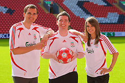 LIVERPOOL, ENGLAND - Thursday, September 6, 2007: Liverpool FC.TV presenters Matt Critchley, Peter McDowall and Claire Rourke at Anfield. (Photo by David Rawcliffe/Propaganda)