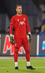 NAPLES, ITALY - Tuesday, September 17, 2019: Liverpool's goalkeeper Adrián San Miguel del Castillo during the pre-match warm-up before the UEFA Champions League Group E match between SSC Napoli and Liverpool FC at the Studio San Paolo. (Pic by David Rawcliffe/Propaganda)