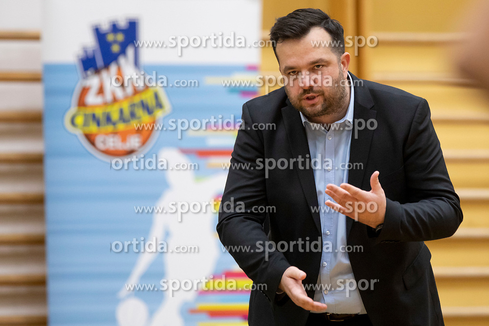 Damir Grgic, head coach of ZKK Cinkarna Celje in action during basketball match between ZKK Cinkarna Celje (SLO) and MBK Ruzomberok (SVK) in Round #6 of Women EuroCup 2018/19, on December 13, 2018 in Gimnazija Celje Center, Celje, Slovenia. Photo by Urban Urbanc / Sportida