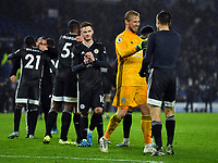 Football - 2019 / 2020 Premier League - Brighton & Hove Albion vs. Leicester City<br /> <br /> Leicester City's Kasper Schmeichel celebrates at the final whistle with Jamie Vardy, at The Amex.<br /> <br /> COLORSPORT/ASHLEY WESTERN