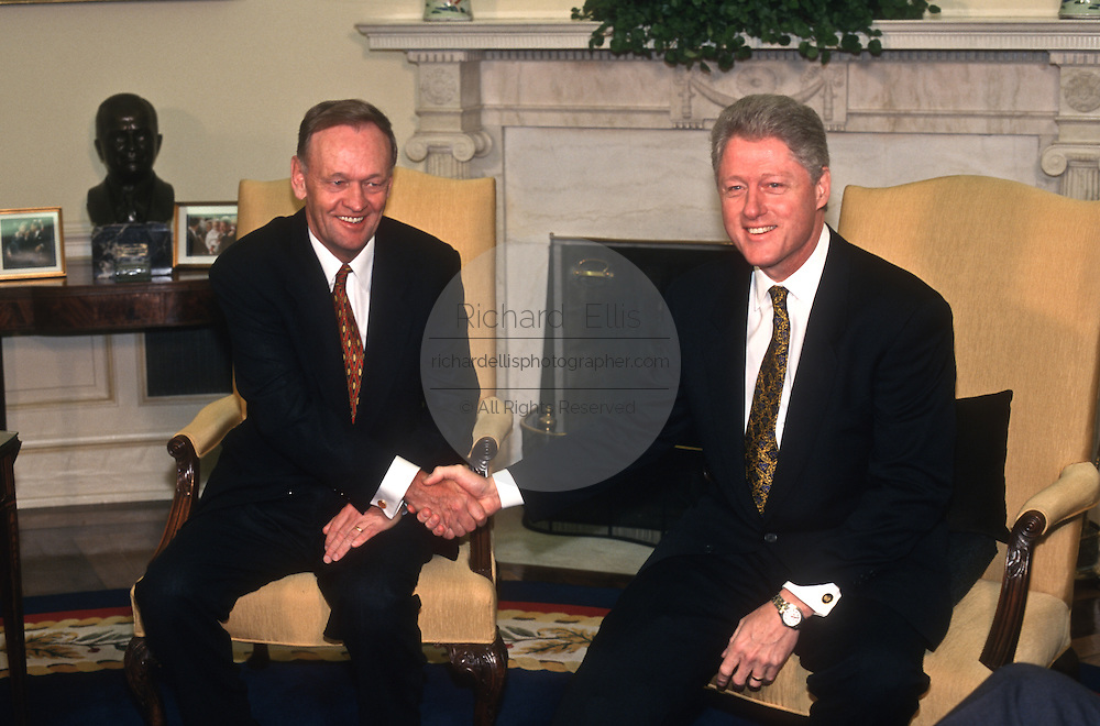 President Bill Clinton meet with Canadian Prime Minister Jean Chrétien in the Oval Office April 8, 1997 in the White House.