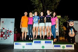 Bojan Ropret, Maja Perinovic of BK Zadar, Karin Penko of BTC City Ljubljana and Hajdi Zajc of BTC City Ljubljana at Trophy ceremony after the cycling race Night Criterium - Kranj 2016, on July 30, 2016 in Kranj, Slovenia. Photo by Vid Ponikvar / Sportida
