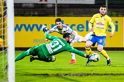 Luka Zahovic of NK Maribor with Janez Pisek of NK Celje and Metod Jurhar of NK Celje during Football match between NK Celje and NK Maribor in 33th Round of Prva liga Telekom Slovenije 2018/19, on May 15th, 2019, in Stadium Celje, Slovenia. Photo by Grega Valancic / Sportida