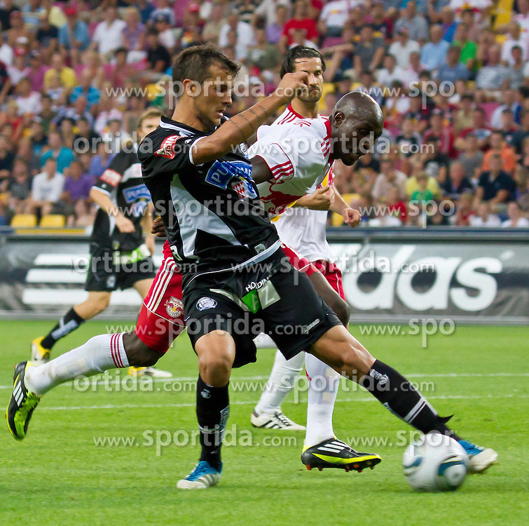 21.08.2011, Red Bull Arena, Salzburg, AUT, 1. FBL, Red Bull Salzburg vs Sturm Graz, im Bild Haris Bukva, (SK Puntigamer Sturm Graz, #09) und Ibrahim Sekagya, (FC Red Bull Salzburg, #23), // during the Austrian Bundesliga Match, Red Bull Salzburg vs Sk Sturm Graz, Red Bull Arena, Salzburg, 2011-08-21, EXPA Pictures © 2011, PhotoCredit: EXPA/ P.Rinderer