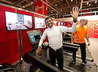 Distance running legend Haile Gebrselassie of Ethiopia  runs on the Digital Virgin Money London Marathon Course at the official race Expo at the ExCeL centre London.<br /> <br /> Wednesday 9th of April 2014<br /> <br /> Free usage no reproduction fee<br /> <br /> Pool Publicity picture, distributed by London Marathon<br /> <br /> Excel Exhibition Centre<br /> The Virgin Money London Marathon 2014<br /> 09 April 2014. <br /> <br /> Photo: Tom Lovelock/Virgin Money London Marathon<br /> <br /> media@london-marathon.co.uk