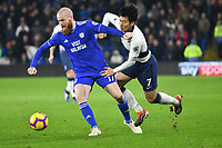 Football - 2018 / 2019 Premier League - Cardiff City vs Tottenham Hotspur<br /> <br /> Heung-Min Son of Spurs tackled by Aron Gunnarsson Cardiff City   .. at the Cardiff City Stadium<br /> <br /> Credit:: COLORSPORT/WINSTON BYNORTH