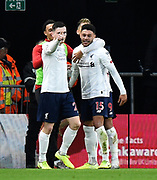 Goal - Alex Oxlade-Chamberlain (15) of Liverpool celebrates scores a goal to give a 0-1 lead during the Premier League match between Bournemouth and Liverpool at the Vitality Stadium, Bournemouth, England on 7 December 2019.
