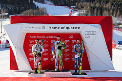 24.02.2017, Kvitfjell, NOR, FIS Weltcup Ski Alpin, Kvitfjell, Abfahrt, Herren, im bild Second placed Matthias Mayer of Austria, Winner Boštjan Kline of Slovenia and third placed Kjetil Jansrud of Norway at trophy ceremony after the men's downhill of FIS Ski Alpine World Cup at the Kvitfjell, Norway on 2017/02/24. PhotoCredit: Jonnas Ericcsson / Sportida