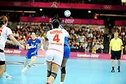 DESCRIZIONE : Handball Jeux Olympiques Londres Quart de Finale<br /> GIOCATORE : FRA<br /> SQUADRA : France Femme<br /> EVENTO : FRANCE Handball Jeux Olympiques<br /> GARA : France Montenegro<br /> DATA : 08 08 2012<br /> CATEGORIA : handball Jeux Olympiques<br /> SPORT : HANDBALL<br /> AUTORE : JF Molliere <br /> Galleria : France JEUX OLYMPIQUES 2012 Action<br /> Fotonotizia : France Handball Femme Jeux Olympiques Londres Quart de Finale Copper Box<br /> Predefinita :