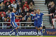 Leicester City forward Jamie Vardy (9) scores a goal and celebrates to make the score 0-1 during the Barclays Premier League match between Sunderland and Leicester City at the Stadium Of Light, Sunderland, England on 10 April 2016. Photo by Simon Davies.