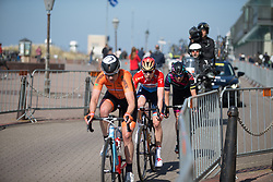 The break starts the penultimate lap of Stage 5 of the Healthy Ageing Tour - a 117.9 km road race, starting and finishing in Borkum on April 9, 2017, in Groeningen, Netherlands.