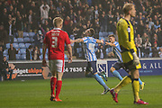 Coventry city midfielder, on loan from Liverpool, Ryan Kent   celebrates the opening goal  during the Sky Bet League 1 match between Coventry City and Barnsley at the Ricoh Arena, Coventry, England on 3 November 2015. Photo by Simon Davies.