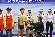 Munich, GERMANY, GBR LW2X bow. Hester GOODSELL and Sophie HOSKING, Gold medalist women's lightweight  double sculls. receive the winner cup. 2010 FISA World Cup. Munich Olympic Rowing Course, Sunday  20/06/2010   [Mandatory Credit Peter Spurrier/ Intersport Images]