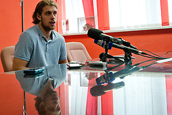 Anze Kopitar at Anze Kopitar Press Conference before going back to Los Angeles for the start of NHL League, on August 28, 2011, in Dvorana Podmezaklja, Jesenice, Slovenia. (Photo by Matic Klansek Velej / Sportida)