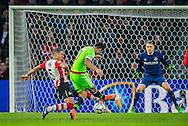 EINDHOVEN, PSV - Ajax, voetbal, Eredivisie seizoen 2015-2016, 20-03-2016, Philips Stadion, Ajax speler Anwar El Ghazi (M) scoort de 0-2, PSV speler Jeffrey Bruma (L) is te laat, PSV keeper Jeroen Zoet (R).
