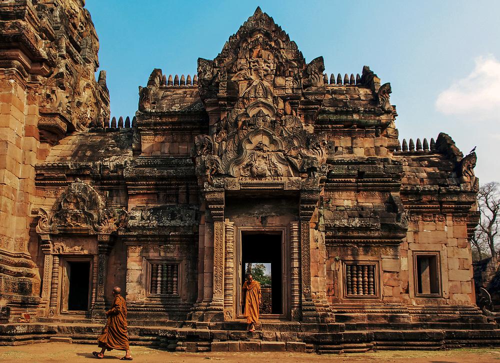 Buddhist monks visit Prasat Phanom Rung, Burirum Province, Thailand
