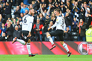 Derby County midfielder Mason Mount (8) scores a goal and celebrates with Derby County defender Richard Keogh (6) during the EFL Sky Bet Championship match between Derby County and Brentford at the Pride Park, Derby, England on 22 September 2018.