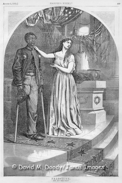 """Franchise: And not this Man?"" Thomas Nast illustration detail. Civil War: August, 1865 Harper's Weekly one legged Wounded Black Union Soldier on crutches with Columbia ( lady Liberty) advocating for his right to vote, veterans, amputee, flags African-American, voting rights, suffrage"