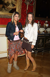 Left to right, VIOLET VON WESTENHOLTZ and ARABELLA MUSGRAVE at a fashion show featuring the Miss Selfridge Autumn/Winter '05 collections held at The Wallace Collection, Manchester Square, London W1 on 6th April 2005.<br />