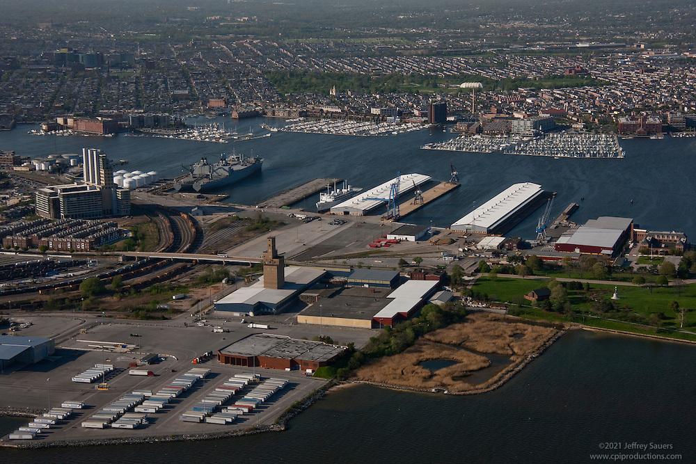 Aerial Image of Maryland Port Administration North Locust Point Shipping terminal at the Port of Baltimore