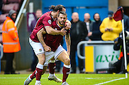 Marc Richards of Northampton Town (right) celebrates  scoring their first goal during the Sky Bet League 2 match at Sixfields Stadium, Northampton<br /> Picture by Andy Kearns/Focus Images Ltd 0781 864 4264<br /> 14/11/2015