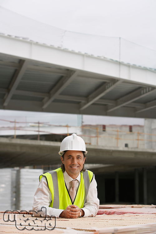 Construction worker at building site