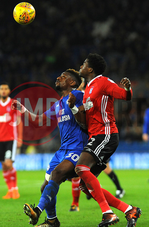 Omar Bogle of Cardiff City and Dominic Iorfa of Ipswich Town compete for the highball  - Mandatory by-line: Nizaam Jones/JMP - 31/10/2017 -  FOOTBALL - Cardiff City Stadium- Cardiff, Wales -  Cardiff City v Ipswich  Town- Sky Bet Championship