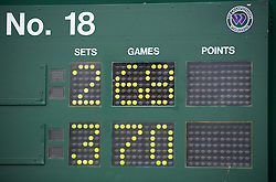 LONDON, ENGLAND - Thursday, June 24, 2010: The Court 18 scoreboard after the historic longert game ever that lasted 11 hours and five minutes over three days with the final score 6-4 3-6 6-7 (7-9) 7-6 (7-3) 70-68 on day four of the Wimbledon Lawn Tennis Championships at the All England Lawn Tennis and Croquet Club. (Pic by David Rawcliffe/Propaganda)