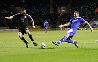 Photo: Steve Bond/Richard Lane Photography. Leicester City v Peterborough United. Coca-Cola Football League One. 20/12/2008. Steve Howard (R) shoots as Craig Morgan (L) closes in