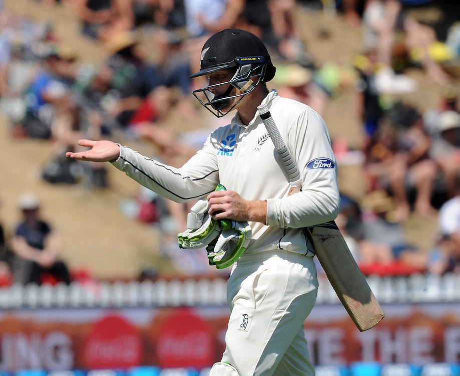 New Zealand's Martin Guptill outfor 45 to the bowling of Australia's Nathan Lyon on the third day of the first International Cricket Test match at Basin Reserve, Wellington, New Zealand, Sunday, February 14, 2016. Credit:SNPA / Ross Setford