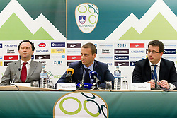 Slavisa Stojanovic, a new head coach of Slovenian National football Team, Aleksander Ceferin, president of NZS and Ales Zavrl, secretary general of NZS  during press conference of Football federation of Slovenia, on October 24, 2011, in Brdo pri Kranju, Slovenia.  (Photo by Vid Ponikvar / Sportida)