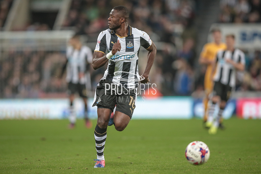 Chancel Mbemba (Newcastle United) runs to get the ball from his byline during the EFL Cup 4th round match between Newcastle United and Preston North End at St. James's Park, Newcastle, England on 25 October 2016. Photo by Mark P Doherty.