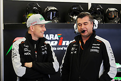 (L to R): Nico Hulkenberg (GER) Sahara Force India F1 with Bradley Joyce (GBR) Sahara Force India F1 Race Engineer.<br /> 28.10.2016. Formula 1 World Championship, Rd 19, Mexican Grand Prix, Mexico City, Mexico, Practice Day.<br /> Copyright: Moy / XPB Images / action press