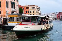 Italy, Venice. Vaporetto on Grand Canal.