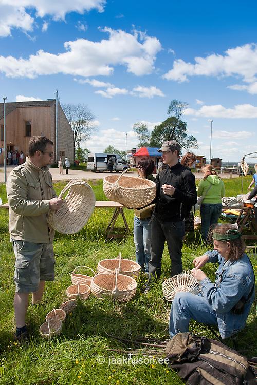 Buyers Looking Basketry in Fair by Lake Võrtsjärv, Tartu County, Estonia