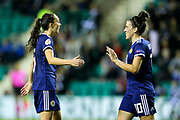 Leanne Crichton (#10) of Scotland congratulates Caroline Weir (#9) of Scotland after scoring Scotland's eighth goal (8-0) during the Women's Euro Qualifiers match between Scotland Women and Cyprus Women at Easter Road, Edinburgh, Scotland on 30 August 2019.