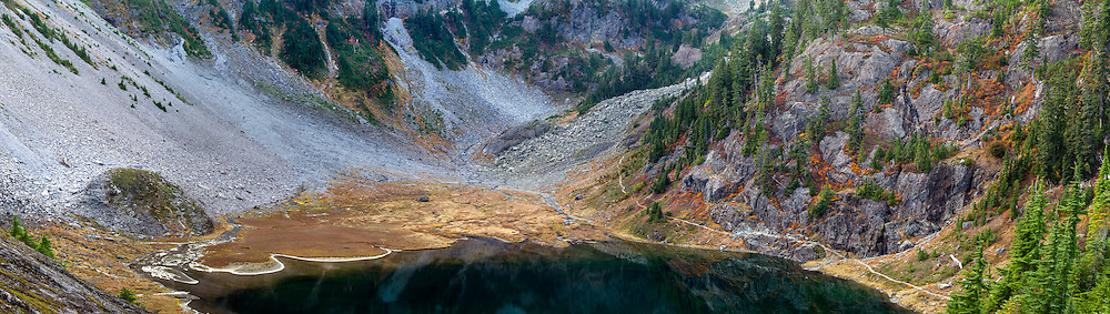 Panorama of the Bagley lakes at the bottom of Table Mountain and Mount Herman.  Photographed from the Fire and Ice Trail in the Mount-Baker Snoqualmie National Forest, Washington State, USA. You can see the Chain Lakes Trail on the lower portion of Mount Herman (right).