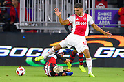 Ajax defender Lisandro Magallan (16) and Flamengo midfielder Diego (10) fight for a ball during a Florida Cup match at Orlando City Stadium on Jan. 10, 2019 in Orlando, Florida. <br /> Flamengo won in penalties 4-3.<br /> <br /> ©2019 Scott A. Miller