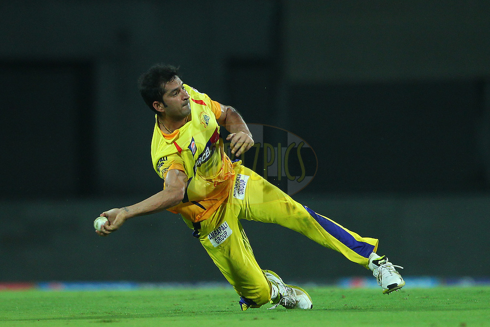 Mohit Sharma of the Chennai Superkings in the field during match 37 of the Pepsi IPL 2015 (Indian Premier League) between The Chennai Superkings and The Royal Challengers Bangalore held at the M. A. Chidambaram Stadium, Chennai Stadium in Chennai, India on the 4th May April 2015.<br /> <br /> Photo by:  Ron Gaunt / SPORTZPICS / IPL
